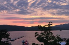 夏の桧原湖の夕暮れ(2)