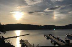 春の桧原湖の夕陽(4)